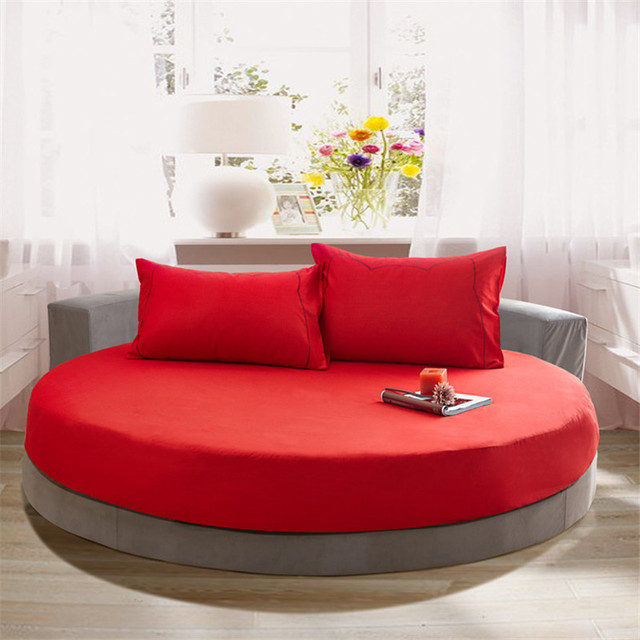 Solid Color Cotton Round Bed Linen Mat For Bedding Room Decorative Bed  Sheets Set Bedspread Protective