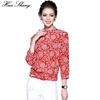 2017 Spring Summer Women Tops Stand Collar Floral Print Red Chiffon Blouse Ladies Shirts 2xl 3xl