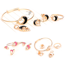 Animal Cute Children Jewelry Set Yellow Gold Filled CZ Adjustable Bangle Hoop Earrings Ring Pendant Safety Baby Girls