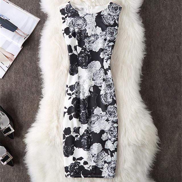 Fenghua Vintage Casual Elegant Sexy Women Summer Dress Plus Size 2017 Floral Party Dresses Slim O-neck Pencil Bodycon Dress 4XL