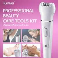 Kemei 5in1 Multifunction Female Epilator electric face cleaning brush hair removal depilation machine depilatory women shaver 5