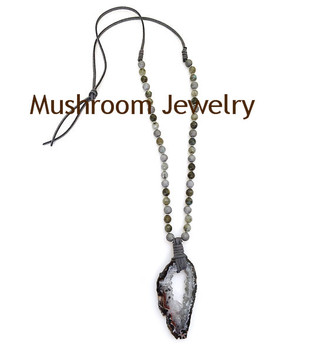 Boho Jades Faux Leather Tie long Boho Necklace Raw Druzy Geode Pendant Necklace