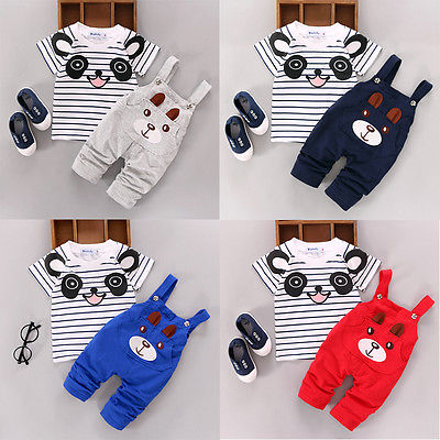 Baby Kid Summer Panda T-shirt+Bib pants Outfits Kids Girls Boy Short Sleeve Top+ Bear Overalls Suit Outfit Toddler Clothes 0-24M