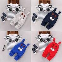 Baby Kid Summer Panda T Shirt Bib Pants Outfits Kids Girls Boy Short Sleeve Top Bear