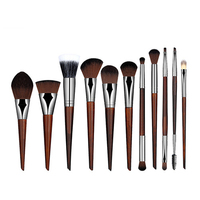 11pcs Makeup Brush Set Foundation Powder Contour Concealer Eyeshadow Eyeliner Eyelash Eyebrow Blending Brush Cosmetic Tools