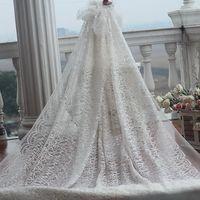 Frete grátis marfim do Vintage bordado tecido de renda em ouro, Vestido de casamento Lace tecido