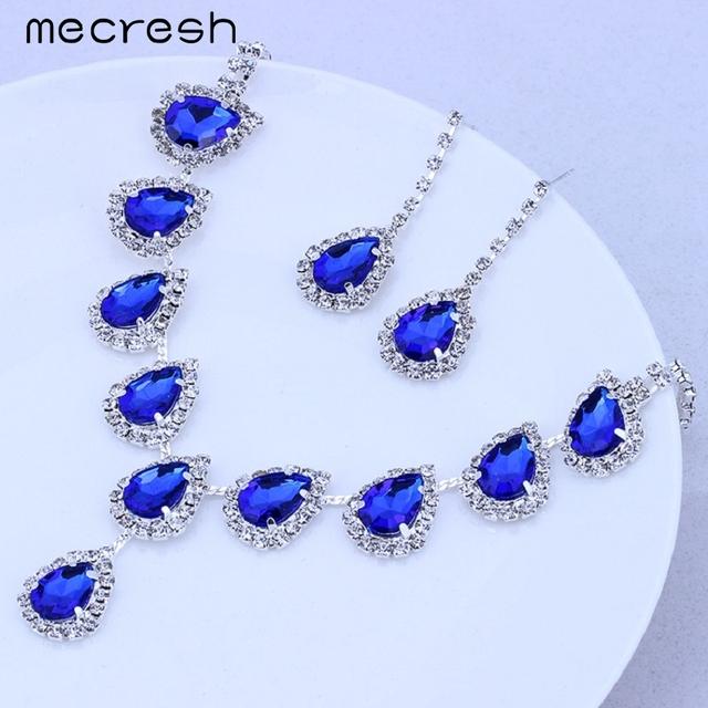 Mecresh Blue Crystal Teardrop Wedding Bridal Jewelry Sets Rhinestone Necklace Set for Women African Beads Jewelry Set TL018