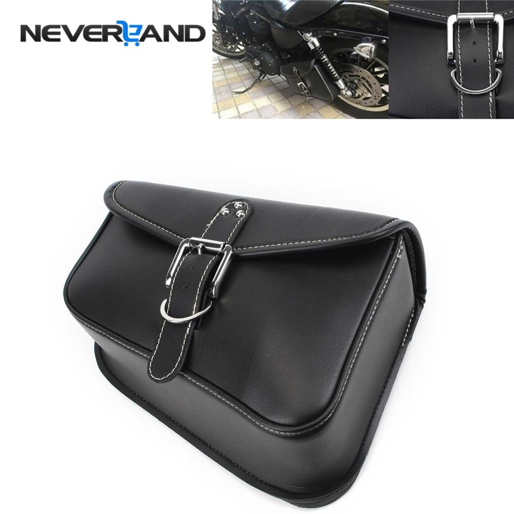 NEVERLAND Black Synthetic PU Leather Left Side Motorcycle Saddle Bags For Harley Sportster XL 883 XL 1200 Motor Saddlebag D25