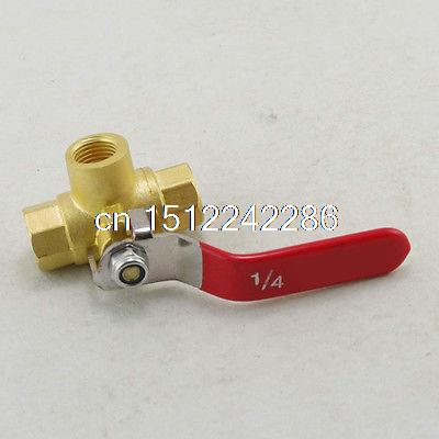 Female Full Ports Brass Ball Valve Three Way 1/4 In BSPP Connection 2pcs lot 1 4 bsp male full ports connection air brass thread pipe ball valve