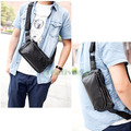 Free shipping Men's Fashion Lichee Pattern PU Leather Messenger Shoulder Travel Riding Hip Bum Belt  Sling Chest Bag Pouch
