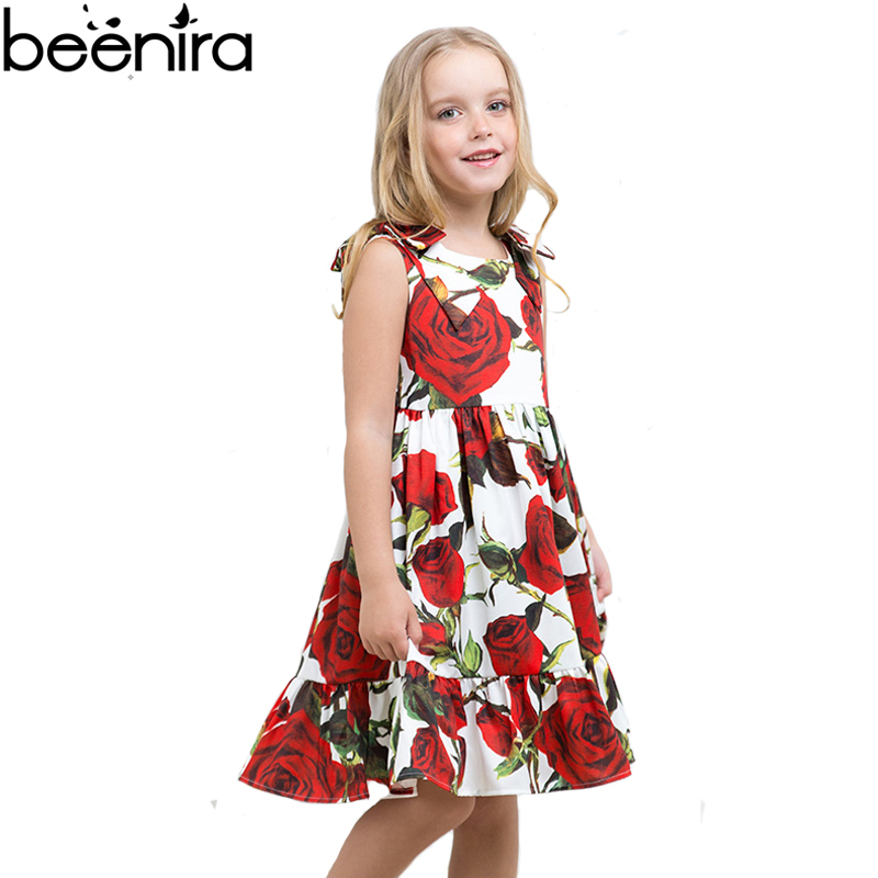 Summer 2017 Girls Dress Kids Rose Print Princess Costume Children Vest Style Clothing for Party Europe Style High Quality high quality casual cotton striped dress for girls teenagers kids summer sleeveless soft vest vestidos children costume