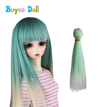 1pcs Diy 15*10cm Night loli Doll Wigs Straight Hair Synthetic High-temperature wire Extensions for 1/3 1/4 BJD SD Accessories