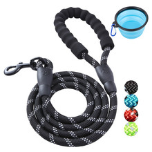 Reflective Dog Leash Rope 5FT Padded Handle Pet Training Walking Leash with Silicone Collapsible Pet Bowl for Mediem Large Dogs