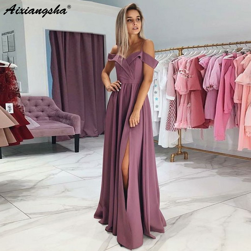 Simple Spaghetti Straps A-Line Satin   Dress   Party 2019 abiye gece elbisesi Sexy Slit   Evening     Dresses   Long