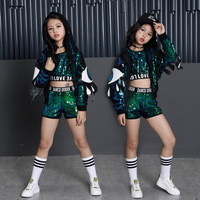 New Children Jazz Dance Costumes Girls Street Dance Sequins Show Clothes Modern Child hip hop Stage Clothing set