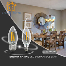 E27 LED candle bulb lamp filament tungsten for crystal chandelier Light Incandescent Replace 2W 4W AC 220V warm white cool CE