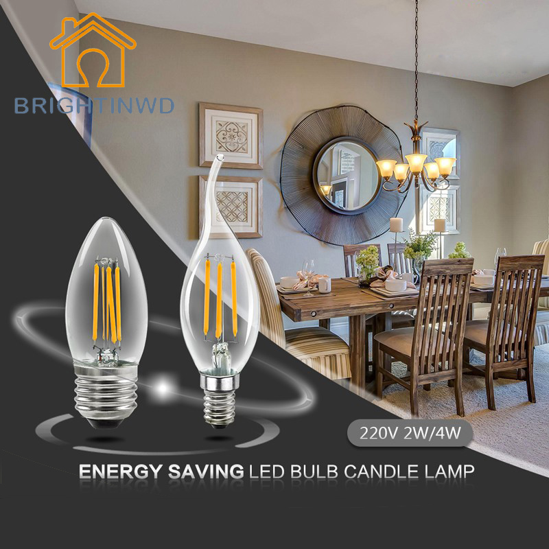 2W/4W C35 C35L 220V Lampada LED Edison Bulb E14 E27 Candle Lamp for Crystal Chandelier Energy Saving Lamp Replace Incandescent 5pcs g9 4w 320lm led candle bulb for chandelier