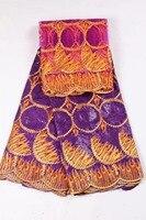 5 yards Africano Bazin riche tessuto + 2 yards francese tessuto del merletto netto ricamato di alta qualità viola per abiti PZ1-64