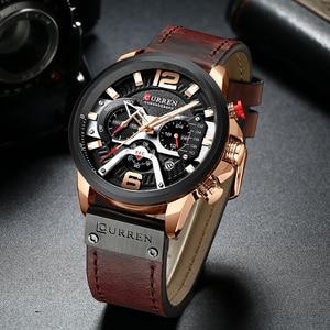 Image 4 - CURREN 8329 Mens שעונים למעלה מותג יוקרה הכרונוגרף גברים שעון עור יוקרה עמיד למים ספורט שעון גברים שעון גבר שעוני יד