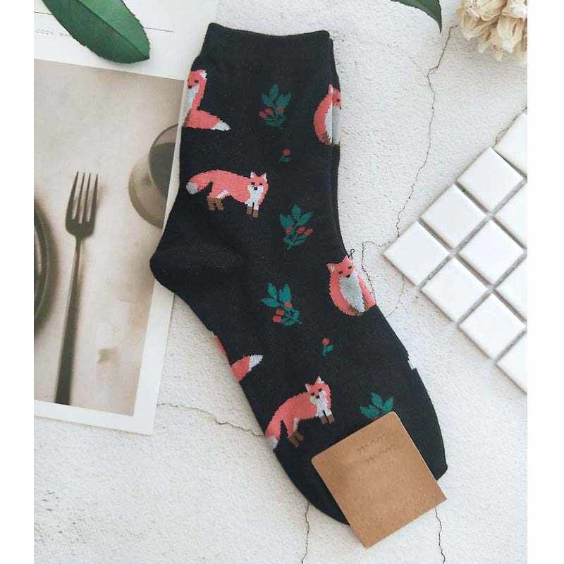 [EIOISAPRA] น่ารัก Jacquard/พืชการพิมพ์รูปแบบถุงเท้าผู้หญิงเกาหลีสัตว์/แคคตัสถุงเท้าตลกถุงเท้า Kawaii sokken Calcetines