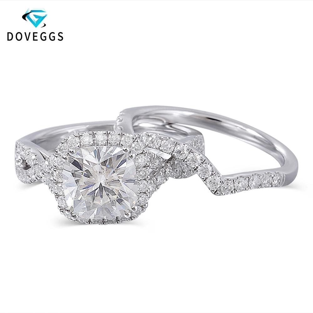 DovEggs 10 K белого золота центр 2ct карат 7,5 мм FG Цвет муассанит обручальное кольцо с камнем для Для женщин свадебные комплекты золотые обручальны...