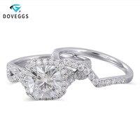 DovEggs 10 K белого золота центр 2ct карат 7,5 мм FG Цвет муассанит обручальное кольцо с камнем для Для женщин свадебные комплекты золотые обручальны
