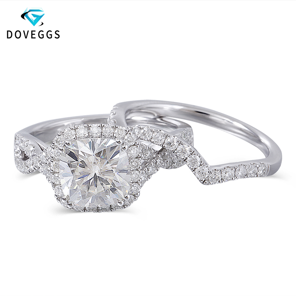 DovEggs 10K White Gold Center 2ct Carat 7.5mm FG Color Moissanite Halo Engagement Ring For Women Bridal Sets Wedding Bands