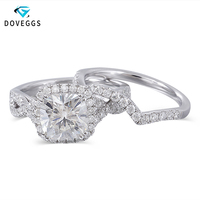 DovEggs 10K White Gold Center 2ct Carat 7.5mm FG Color Moissanite Halo Engagement Ring For Women Bridal Sets Gold Wedding Bands