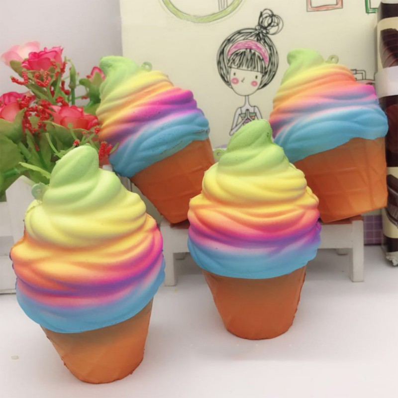 10cm Jumbo Squishy Lovely Ranbow ice Cream Cone Jumbo PU Slow Rising Soft Squishes Toys Stress Relief Toy ...