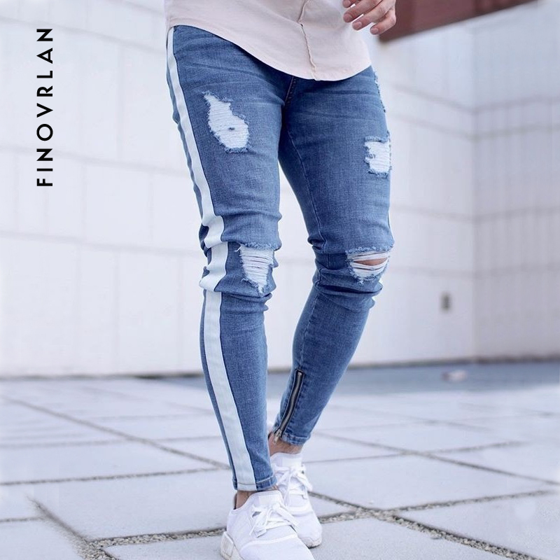 2018 new Knee Hole Ankle zipper Slim Distressed   Jeans   Men Ripped tore up streetwear hiphop For Men slim stripe pants Streetwear