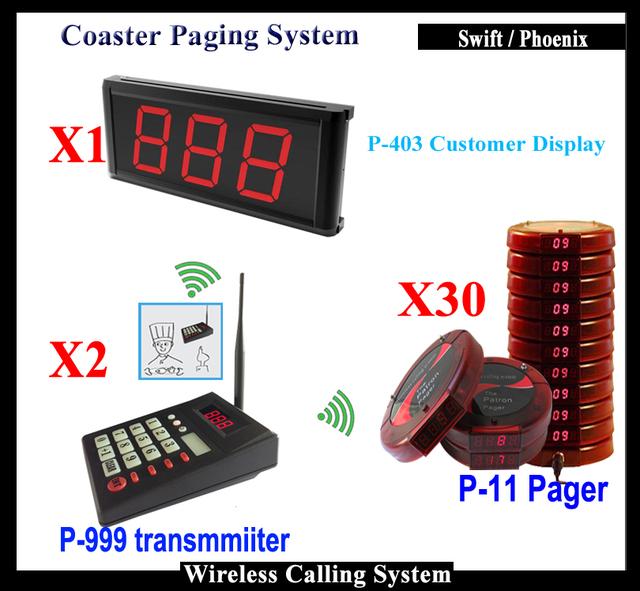 Solución de Gestión de Sistema de Colas inalámbrica Cocina Para Restaurante de Comida Rápida (teclado numérico pantalla 1 + 2 transmisor + 20 Pager)