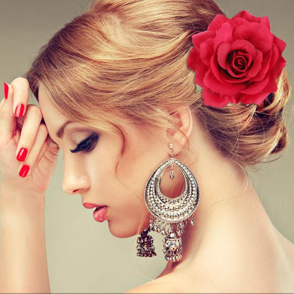 2017 Spring Wedding hairstyle Bridal Rose Flower Hairpin Brooch Party Bridesmaid Hair Clip Hair ...