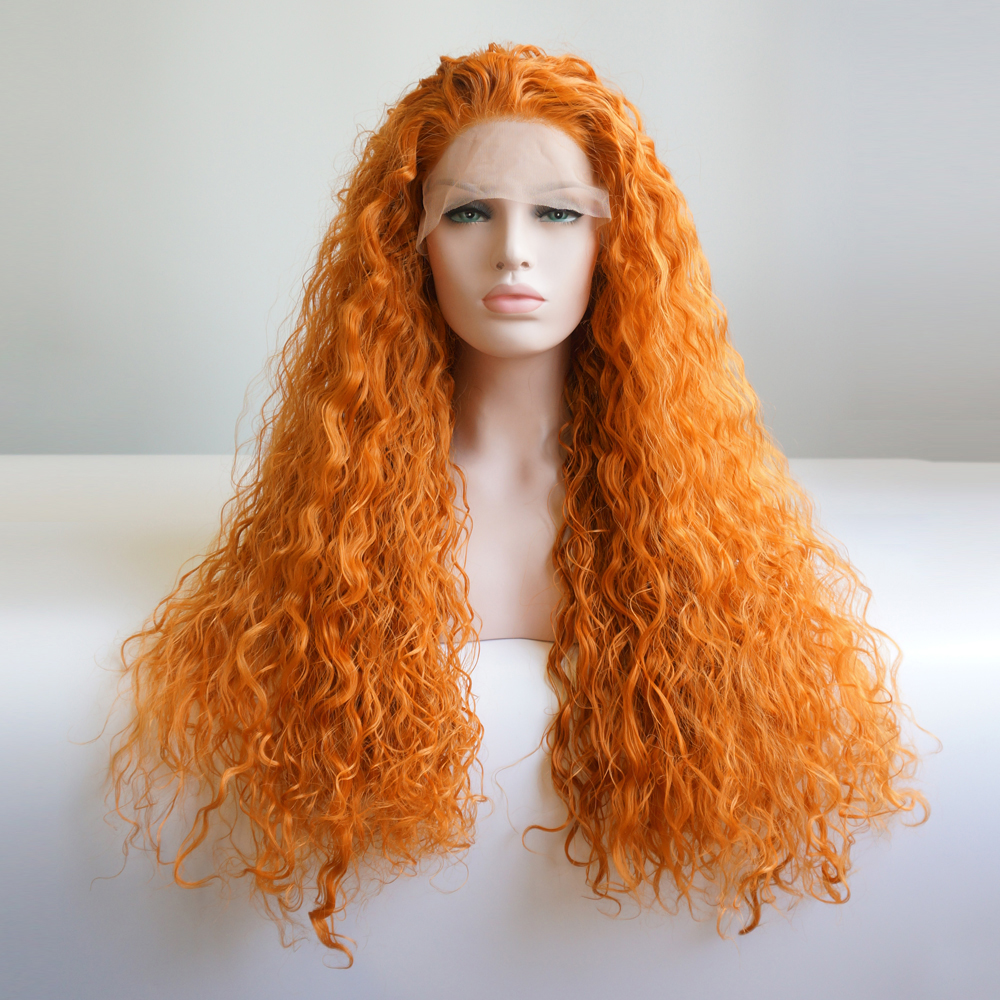 Aliexpress Com Buy Halloween 28 Quot Orange Long Curly