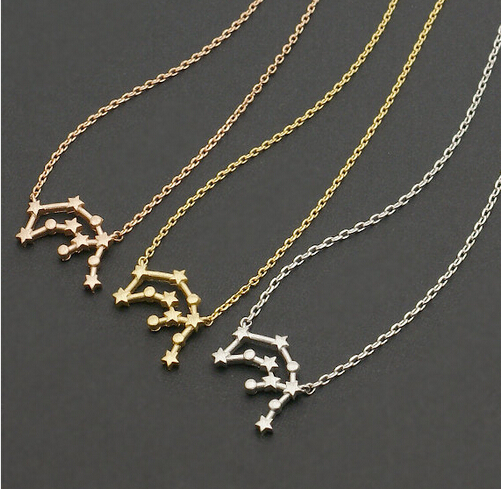 sign my vermeil gold necklaces rose aquarius constellation necklace star image