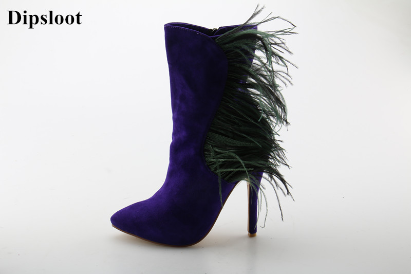 Dipsloot Purple Suede Leather Women Pointed Toe Ankle Boots Long Feather Side Embellished Ladies Short Boots Party Shoes