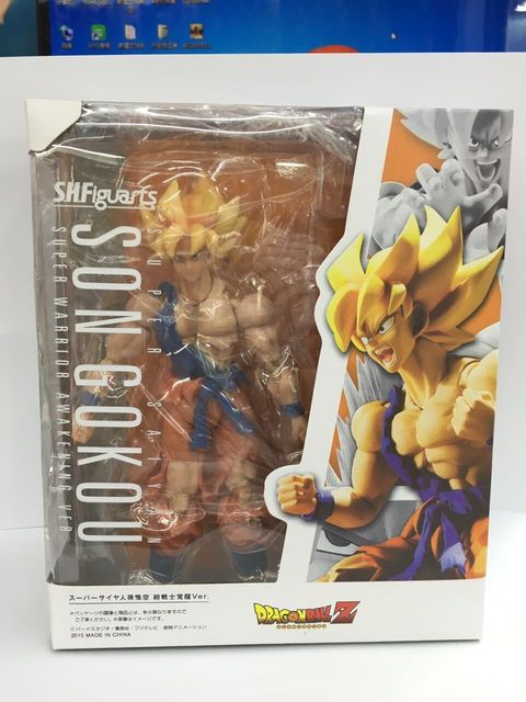 HKXZM Anime Figure 17CM SHF Dragon Ball Z Son Gokou Super Warrior Awakening Ver. PVC Action Figure Toy Model Collectible Gift