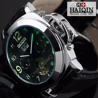 HAIQIN Men's watches automatic mechanical Gold Mens Watches top brand luxury watch men wirst watch male Tourbillon Reloj hombres