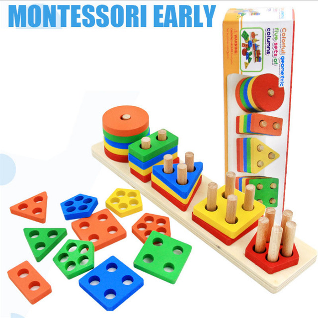 New Children Baby Early Education Toy Five Of Columns Geometric Puzzle Board Shape/ Color Learning Wooden Building Blocks Toys