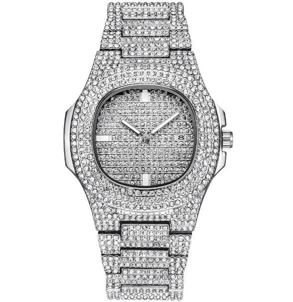 Роскошные часы с бриллиантами для мужчин и женщин, часы в стиле хип-хоп, мужские кварцевые часы, ремешок из нержавеющей стали, деловые наручные часы для мужчин - Цвет: Серебристый