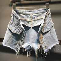 Ladies High Quality High Waisted Denim Shorts Women 2018 Summer Skorts Skirts wide leg Short Jeans Vintage Short
