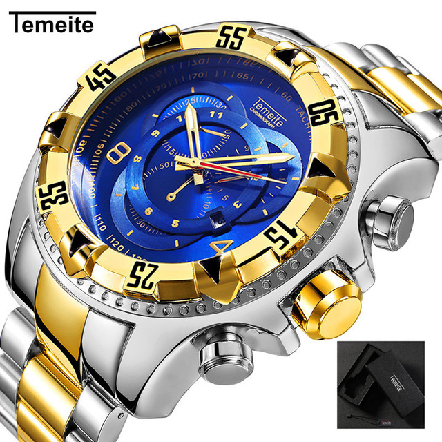 Relogio TEMEITE 2018 New Quartz Watches Mens Fashion Creative Heavy Waterproof Wristwatch Luxury Gold Blue Full Steel MasculinoRelogio TEMEITE 2018 New Quartz Watches Mens Fashion Creative Heavy Waterproof Wristwatch Luxury Gold Blue Full Steel Masculino