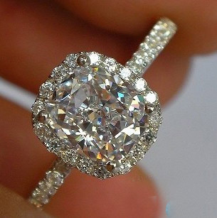 forever brilliant luxury cushion cut 2 carat halo engagement wedding 14 k 585 white gold ring - Real Diamond Wedding Rings