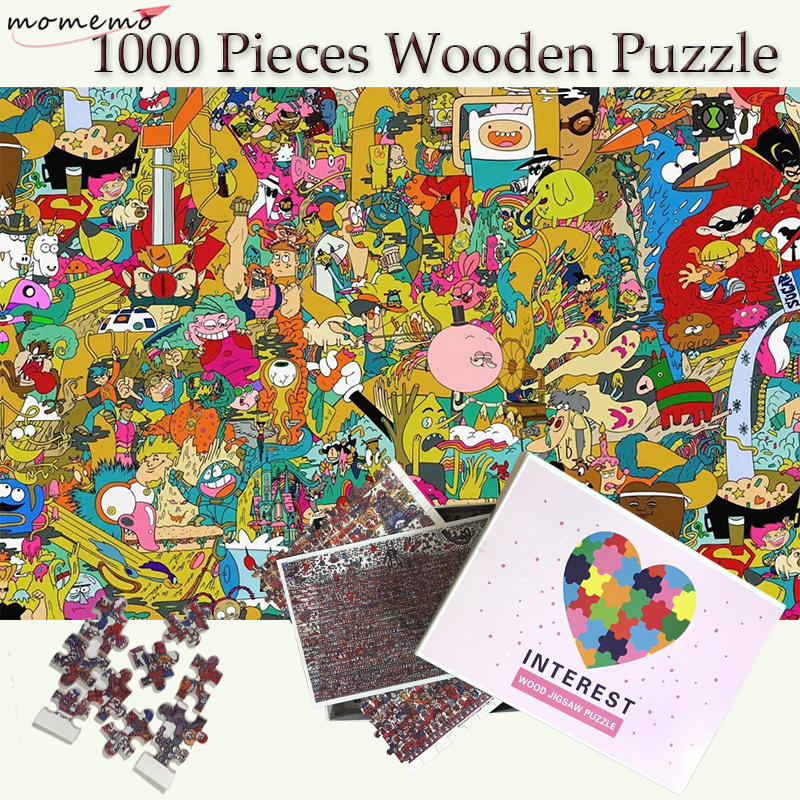 MOMEMO Cartoon World Adouts 1000 Pieces Jigsaw Wooden Puzzles Cartoon Puzzle 1000 Pieces Toys Puzzle Games Kids Wooden Toy Decor in Puzzles from Toys Hobbies