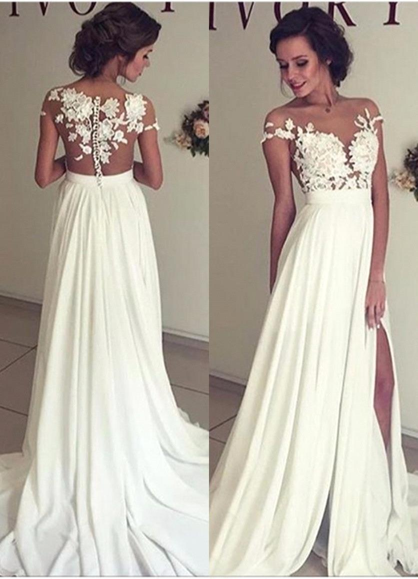 Sexy Lace Boho Wedding Dresses 2019 High Split Buttons Back Beach Bohemian Chiffon Bridal Dress Wedding Gowns Vestido De Novia