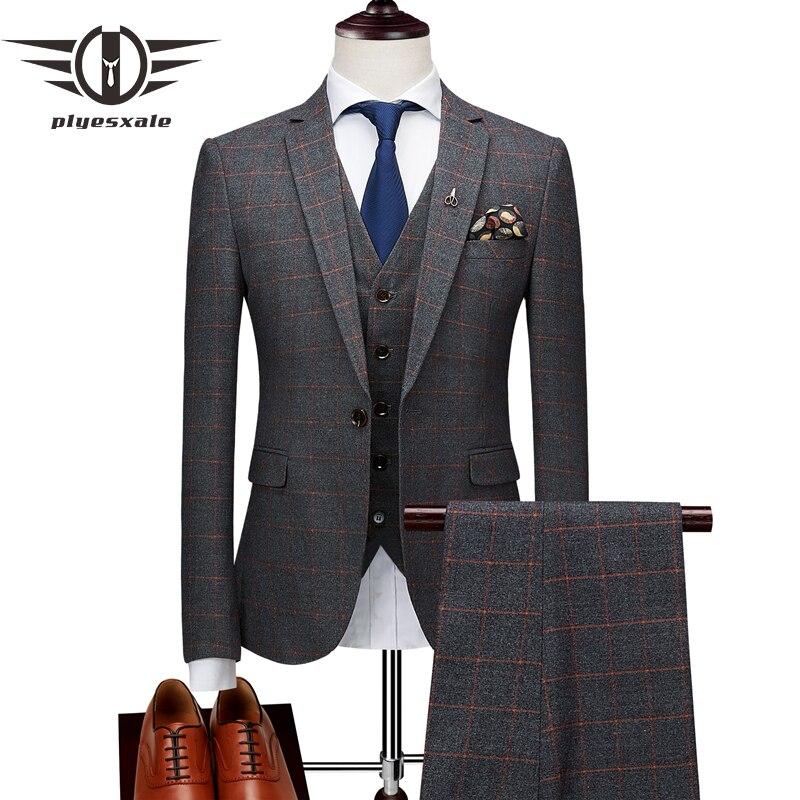 Plyesxale スリムフィットチェック柄スーツ男性ブランド古典的な 3 ピースメンズ結婚式スーツアプリコット黄紺グレーメンズフォーマルスーツ Q174  グループ上の メンズ服 からの スーツ の中 1