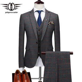 Plyesxale Slim Fit Plaid Suit Men Brand Classic 3 Piece Mens Wedding Suits Apricot Yellow Navy Blue Grey Men's Formal Suits Q174 - DISCOUNT ITEM  39% OFF All Category
