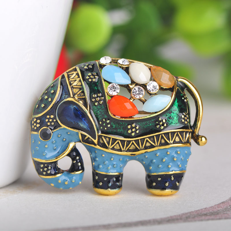 Blucome Thailand Elephant Shape Brooch Colorful Enamel Resin Brooches Pins For Women Kids Scarf Clothes Hat Accessories Jewelry