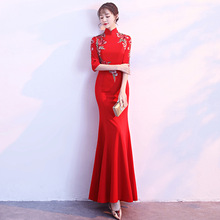 Red Vintage Women Cheongsam Oversize 3XL 4XL Vestidso Lady Chinese Bride Wedding Party Dresses Print Flower Sexy Qipao S-133
