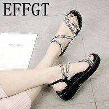 EFFGT Woman shoes Summer diamond sandals Open Toe Casual Shoes Woman sandals  comfortable Thick Bottom Wedges 803a6e34c206