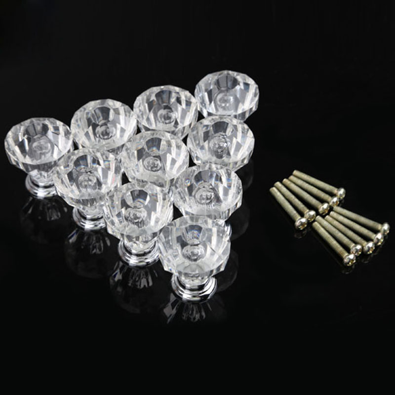 Drawer Furniture Knob Pull Handle Use for Knob Cupboard Cabinet Drawer Fittings Gold Diamond Crystal Shape Acrylic Accessories